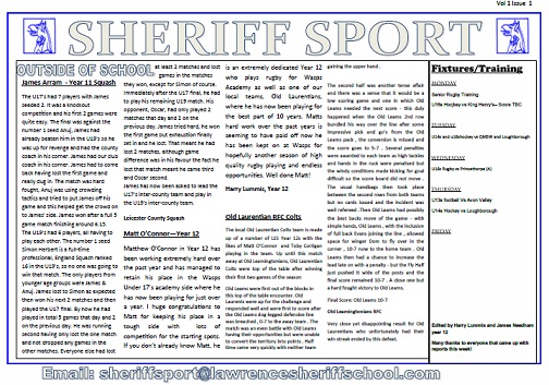 Sheriff Sport Newsletter